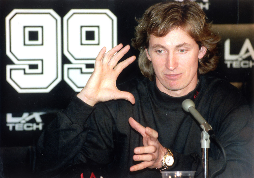 . Wayne Gretzky meets with reporters at a press conference at the Forum in March, 1994.   L.A. Daily News file photo