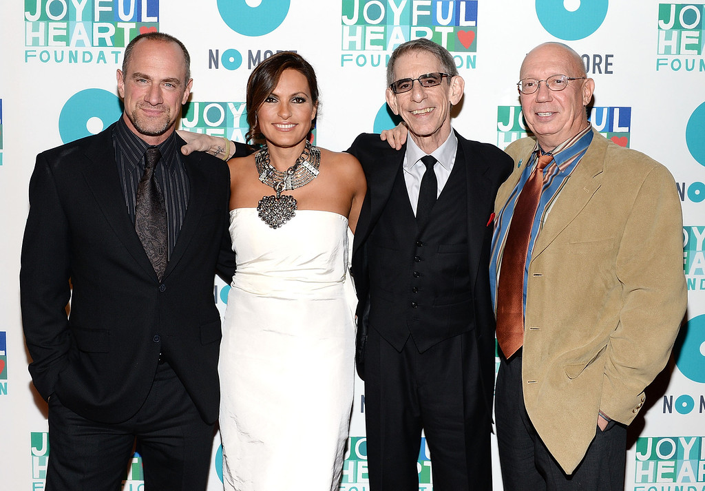 . NEW YORK, NY - MAY 09:  (L-R) Christopher Meloni, Joyful Heart Foundation founder Mariska Hargitay, Richard Belzer and Dann Florek attend the 2013 Joyful Heart Foundation Gala at Cipriani 42nd Street on May 9, 2013 in New York City.  (Photo by Andrew H. Walker/Getty Images)