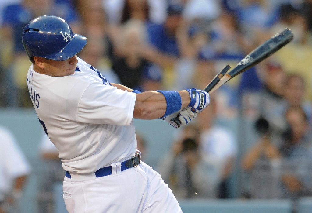 . A.J. Ellis breaks his bat in the first inning and grounds out to 2nd. The Dodgers played the NY Yankees in a game at Dodger Stadium in Los Angeles, CA. 7/30/2013(John McCoy/LA Daily News)