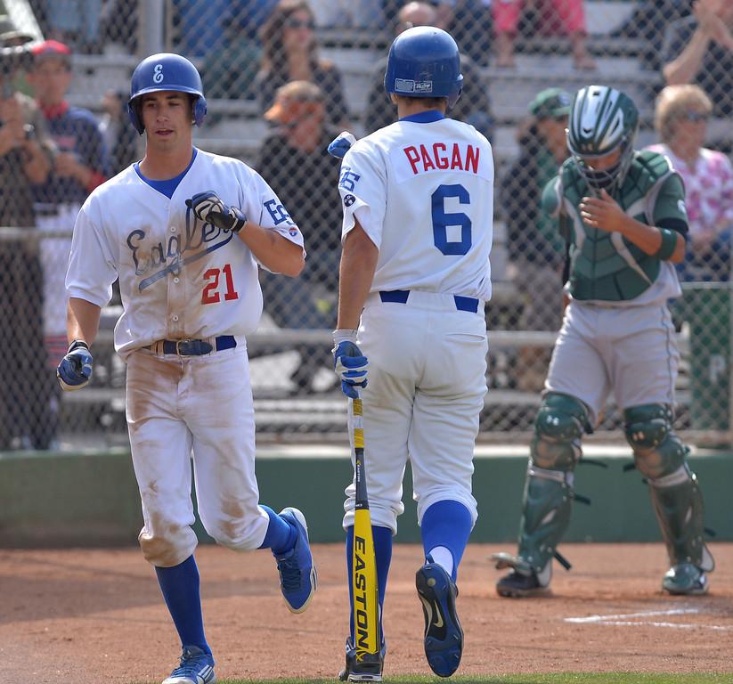 . 0509_SPT_TDB-L-SOUTH-ELSEG--- El Segundo, CALIFORNIA--5/8/13--- Staff Photo: Robert Casillas / LANG--- South Torrance defeated host El Segundo 6-3 in Pioneer League baseball game. Erik Gronhagen scores.