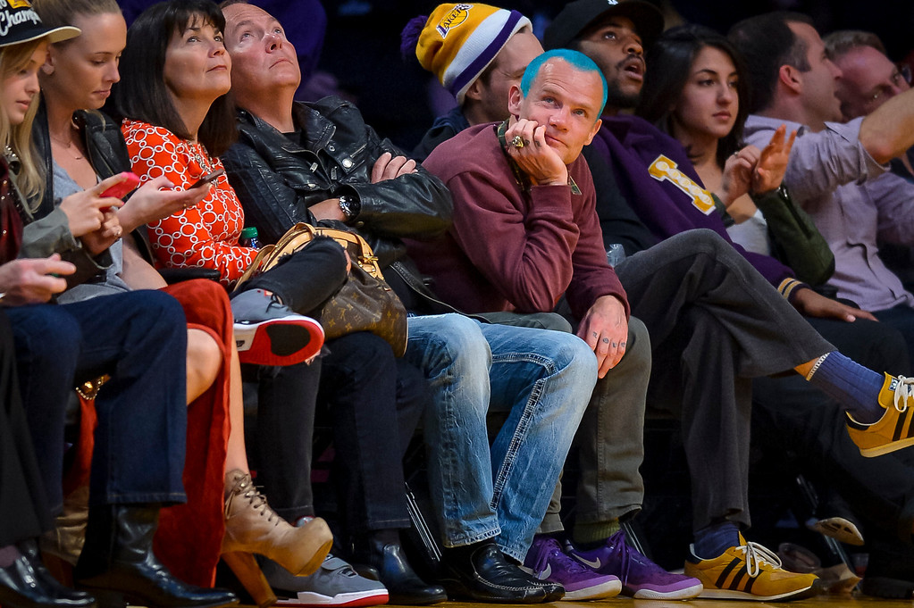 . Flea looks on as the Lakers took on the Houston Rockets  at Staples Center Wednesday, February 19, 2014.  The Rockets defeated the Lakers 134-108.  ( Photo by David Crane/Los Angeles Daily News )
