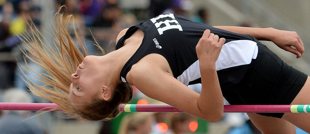 . Huntington Beach\'s competes in the division 1 high jump during the CIF Southern Section track and final Championships at Cerritos College in Norwalk, Calif., Saturday, May 24, 2014. 