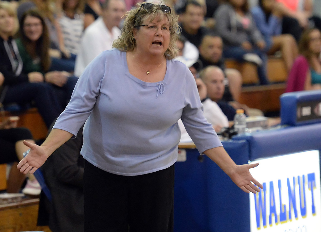 . Walnut head coach Lori Huckler reacts in the first half of a prep basketball game against Bonita at Walnut High School in Walnut, Calif., on Wednesday, Jan. 15, 2014. Bonita won 60-50. (Keith Birmingham Pasadena Star-News)