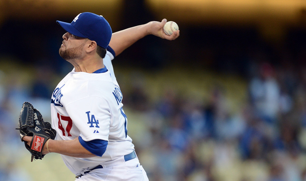 . The Dodgers\' Ricky Nolasco #47 delivers during their game against the Red Sox at Dodger Stadium Friday, August 23, 2013 in Los Angeles. (Hans Gutknecht/Los Angeles Daily News)