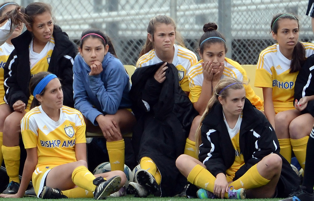 . Bishop Amat bench looks on in the second half of a CIF-SS second round prep playoff soccer match against Diamond Bar at Diamond Bar High School in Diamond Bar, Calif., on Wednesday, Feb.26, 2014. Diamond Bar won 3-2.