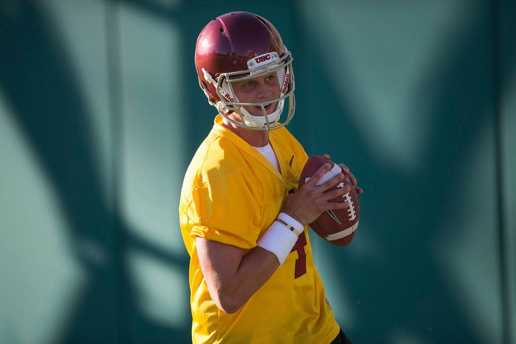 . QB Max Browne #4 during practice at USC, Howard Jones Field on the USC campus in Los Angeles, Monday, August 4, 2014. (Photo by Hans Gutknecht/Los Angeles Daily News)