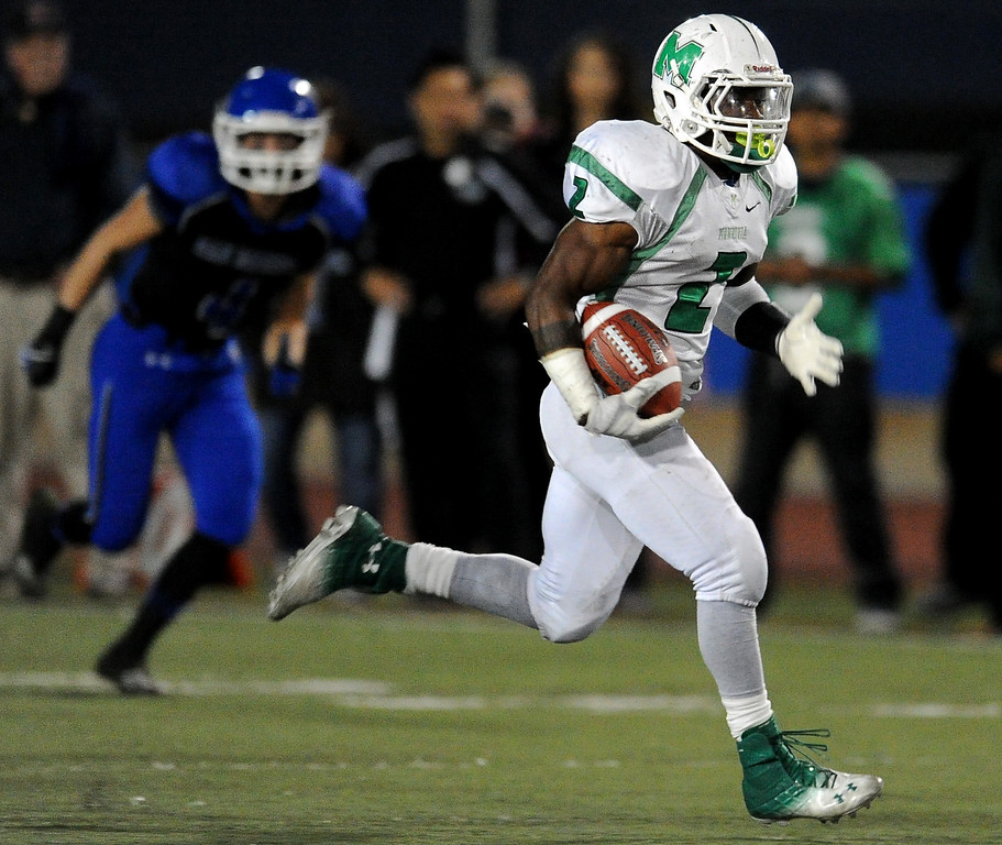 . Monrovia\'s Kurt Scoby (2) runs for a touchdown against San Marino in the first half of a prep football game at Monrovia High School in Monrovia, Calif., on Friday, Nov. 8, 2013.    (Keith Birmingham Pasadena Star-News)