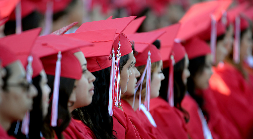 . Students listen to speeches during the Whittier High School graduation at Whittier College in Whittier, Calif., on Wednesday, June 4, 2014.  (Keith Birmingham/Pasadena Star-News)