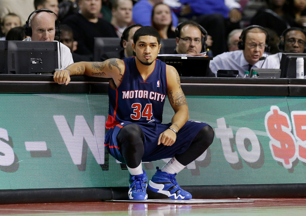 . Detroit Pistons guard Peyton Siva (34) waits to enter the game during the second half of an NBA basketball game against the Los Angeles Lakers at the Palace in Auburn Hills, Mich., Friday, Nov. 29, 2013. (AP Photo/Carlos Osorio)