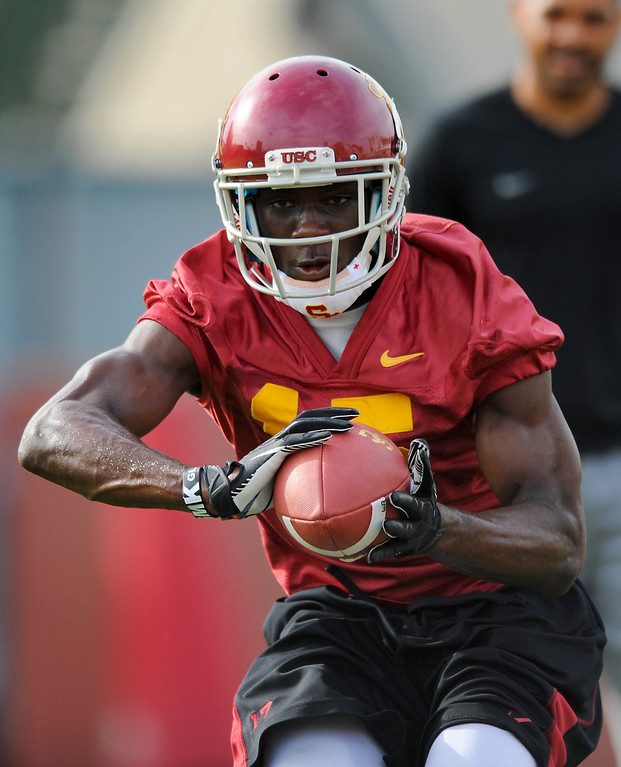 . USC WR Nelson Agholor catches a pass during drills at spring practice, Tuesday, March 11, 2014, at USC. (Photo by Michael Owen Baker/L.A. Daily News)