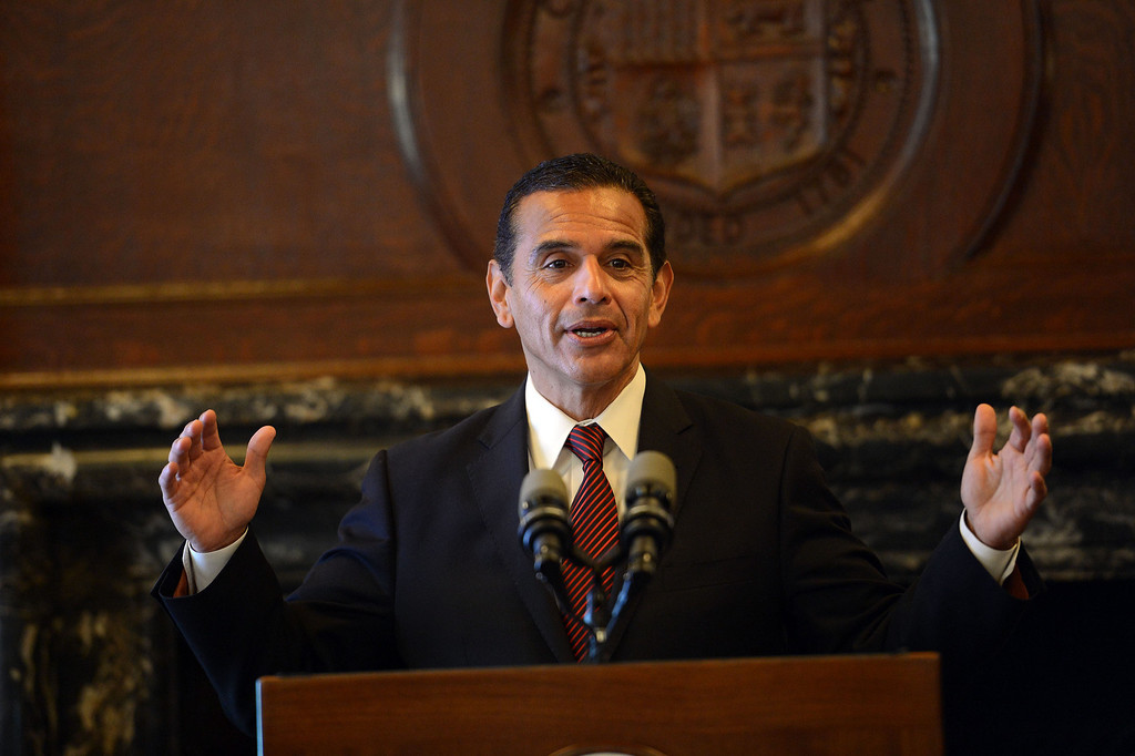 . Los Angeles Mayor Antonio Villaraigosa talks to the media as he releases his final budget for the city during a press conference at city hall Monday, April 22, 2013. (Hans Gutknecht/L.A. Daily News)