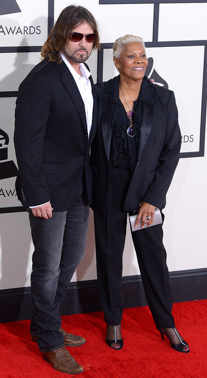 . Billy Ray Cyrus and Dionne Warwick arrive at the 56th Annual GRAMMY Awards at Staples Center in Los Angeles, California on Sunday January 26, 2014 (Photo by David Crane / Los Angeles Daily News)