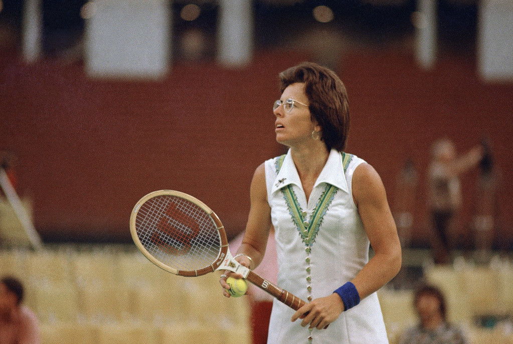 ". Billie Jean King tennis player in the ""Battle of the Sexes\"" tennis match with Bobby Riggs, the 55-year-old veteran, at the Houston Astrodome in Houston, Texas on Sept. 20, 1973. (AP Photo)"