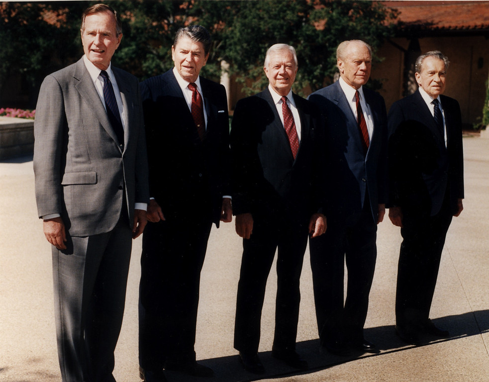 . 11/4/91 -  Simi Valley, Ca: For the first time in history, five U.S. presidents gathered in one place. President Bush and former presidents Ronald Reagan, Jimmy Carter, Gerald Ford and Richard Nixon appear in the courtyard of the Ronald Reagan Presidential Library in Simi Valley on Monday.  (Los Angeles Daily News file photo)
