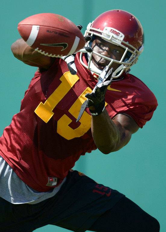 . Nelson Agholor catches a pass. Football practice is in full swing on the Howard Jones Field at USC. Los Angeles, CA. 8/6/2014(Photo by John McCoy Daily News)