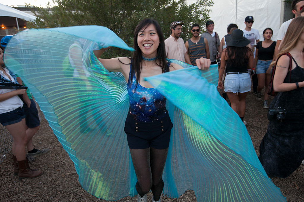 . Barbara Ngai has fun at the FYF Fest in downtown L.A., Saturday, August 24, 2013. (Michael Owen Baker/L.A. Daily News)