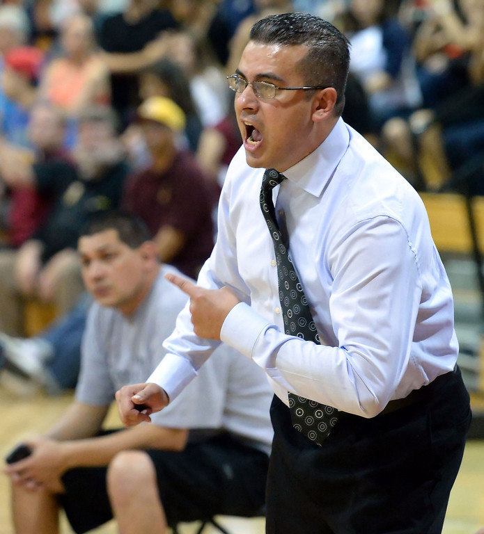 . Cantwell head coach George Zedan reacts in the first half of a State Division 4 CIF Prep Playoff Basketball game against Village Christian at Whittier High School in Whittier, Calif., on Saturday, March 15, 2014. Cantwell won 51-48.  (Keith Birmingham Pasadena Star-News)