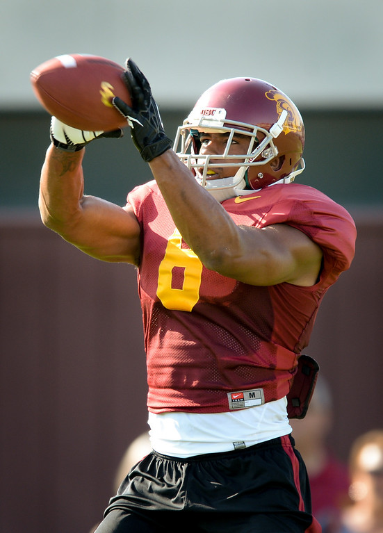 . USC WR George Farmer catches a pass at practice, Thursday, March 27, 2014, at USC. (Photo by Michael Owen Baker/L.A. Daily News)