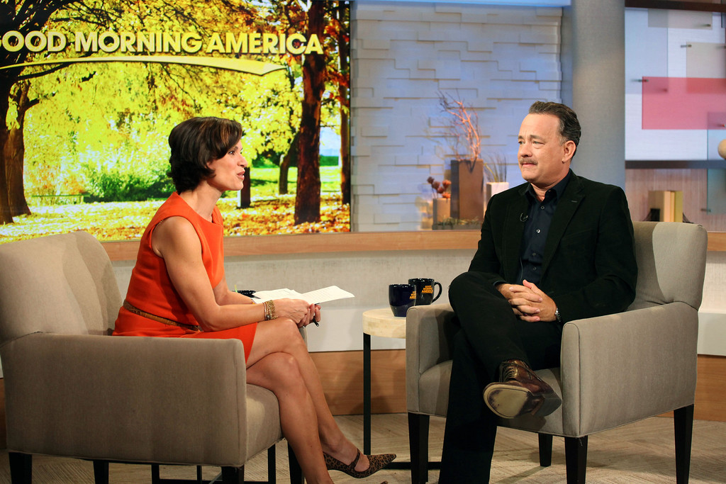 ". This image released by ABC shows actor Tom Hanks during an interview segment with Elizabeth Vargas on ""Good Morning America,\"" Friday, Oct. 19, 2012 in New York.   (AP Photo/ABC, Fred Lee)"
