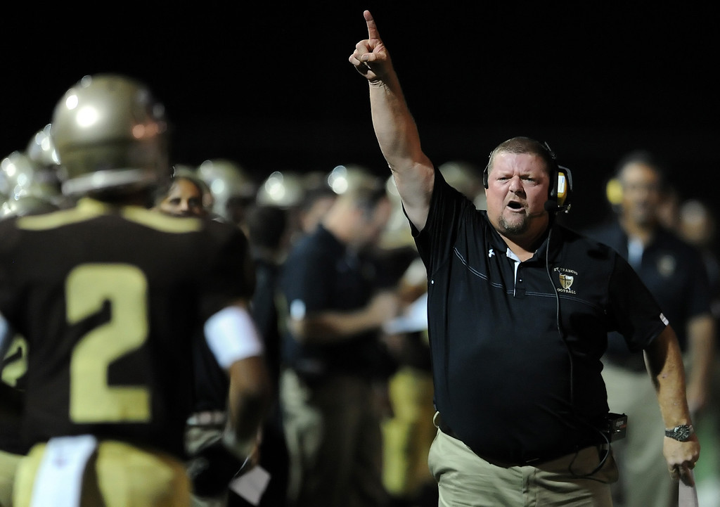 . St. Francis\' head coach Jim Bonds in the first half of a prep football game against La Mirada at St. Francis High School in La Canada, Calif. on Thursday, Sept. 19, 2013.    (Photo by Keith Birmingham/Pasadena Star-News)