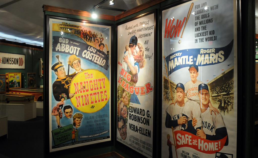 """. Movie posters are included in the \""""Baseball!\"""" exhibit.  The Exhibition opens April 4, 2014 at the Ronald Reagan Presidential Library and Museum.  Running through September 4, 2014, Baseball is a 12,000 square foot exhibition featuring over 700 artifacts, including some of the rarest, historic and iconic baseball memorabilia.  (Photo by Dean Musgrove/Staff Photographer)"""