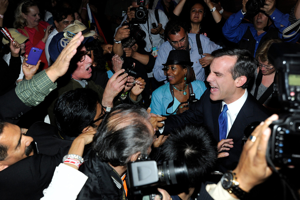 . Los Angeles Mayoral candidate Eric Garcetti poses for photos after his speech. Garcetti held his election night party at The Hollywood Palladium where supporters showed hear him speak. Hollywood, CA 5/22/2013(John McCoy/LA Daily News)