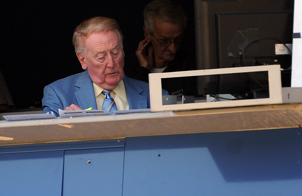 . Los Angeles Dodgers Hall of Fame announcer, Vin Scully prior to a Major league baseball game against the San Francisco Giants on Saturday, May10, 2013 in Los Angeles.  (Keith Birmingham/Pasadena Star-News)