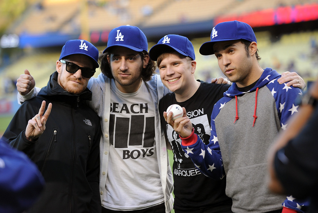 . Fall Out Boy was on hnad to throw out the first pitch at Dodger Stadium Tuesday April 16, 2013.(Andy Holzman/Staff Photographer)