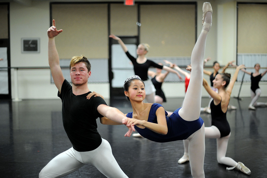 . Leili Rackow and Chasen Greenwood rehearse a scene from the Nutcracker at the California Dance Theater in Agoura, CA December 10, 2013.  Rackow will dance as Clara this month in Pacific Festival Ballet\'s The Nutcracker at the Fred Kavli Theatre in Thousand Oaks, CA.(Andy Holzman/Los Angeles Daily News)