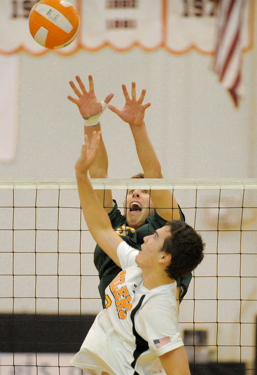 . 05-15-2013-( Daily Breeze Staff Photo by Sean Hiller) Huntington Beach swept Mira Costa in Wednesday\'s  boys volleyball CIF Southern Section Division I semifinal at Huntington Beach High School. Costa\'s Casey White at the net.