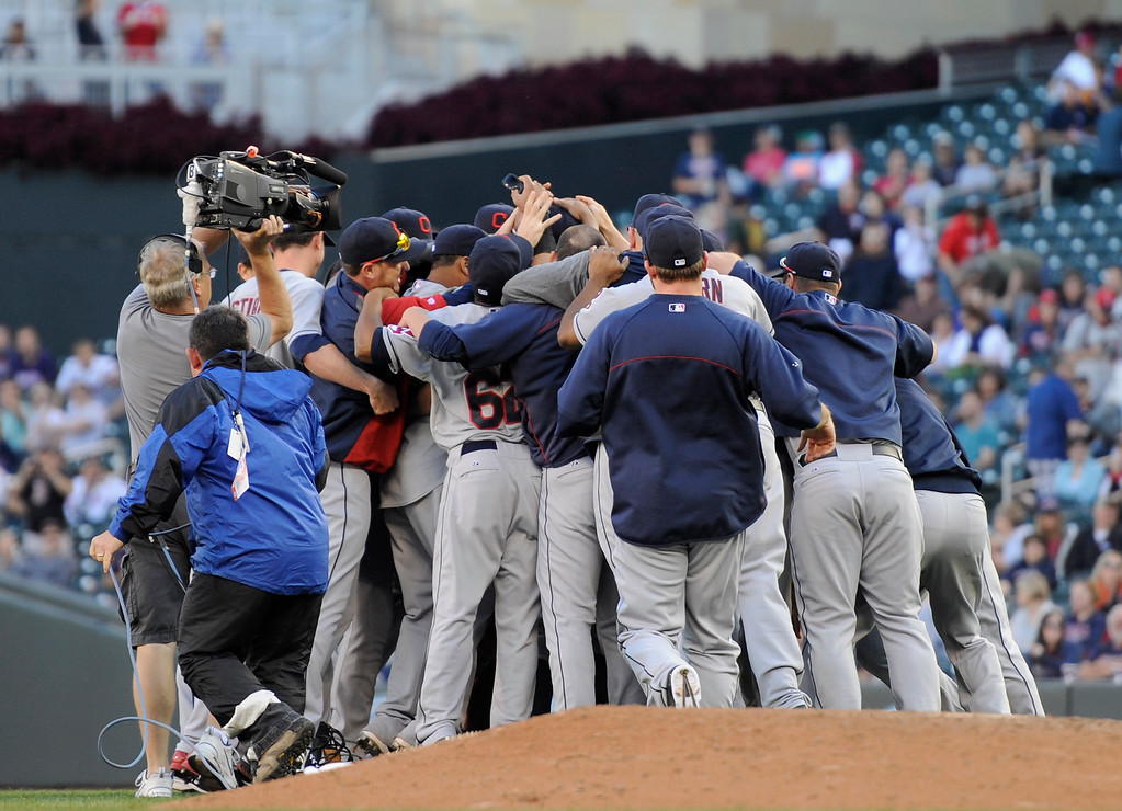 . MINNEAPOLIS, MN - SEPTEMBER 29: The Cleveland Indians celebrate a win of the game against the Minnesota Twins on September 29, 2013 at Target Field in Minneapolis, Minnesota. The Indians defeated the Twins 5-1 and clinched a American League Wild Card berth. (Photo by Hannah Foslien/Getty Images)