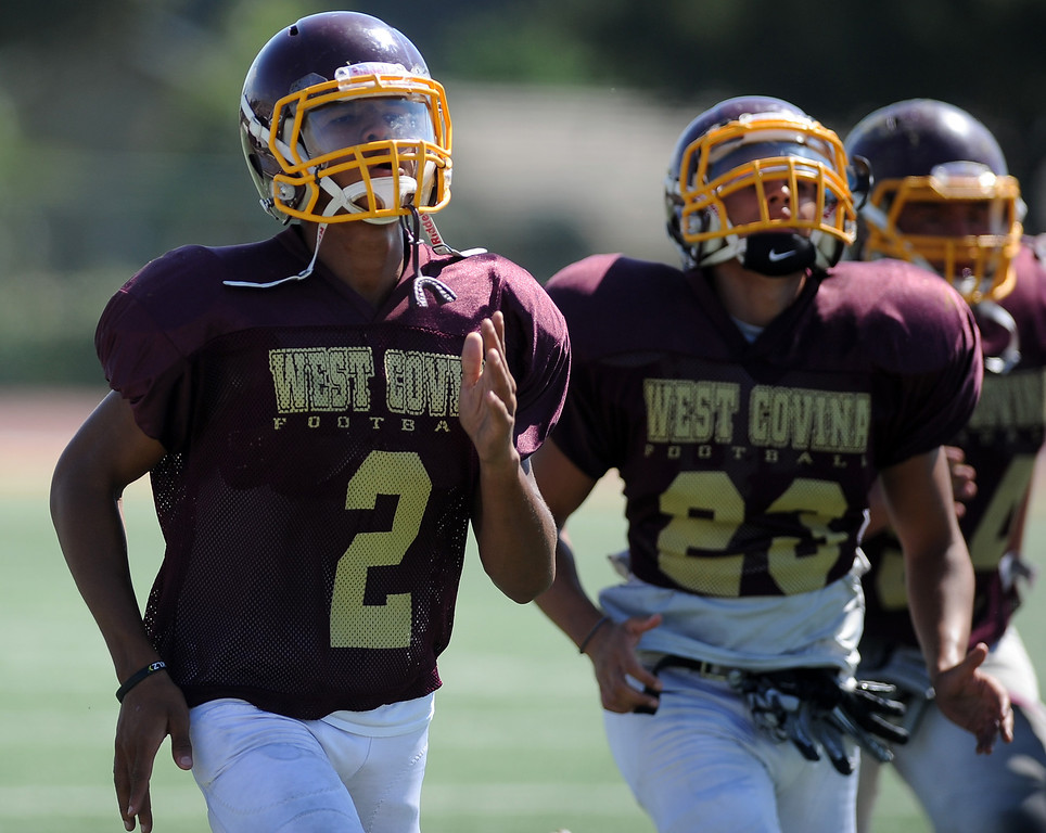 . WR/DB Sidney Jones (2) during football practice at West Covina High School on Tuesday, Aug. 20, 2013 in West Covina, Calif.   (Keith Birmingham/Pasadena Star-News)
