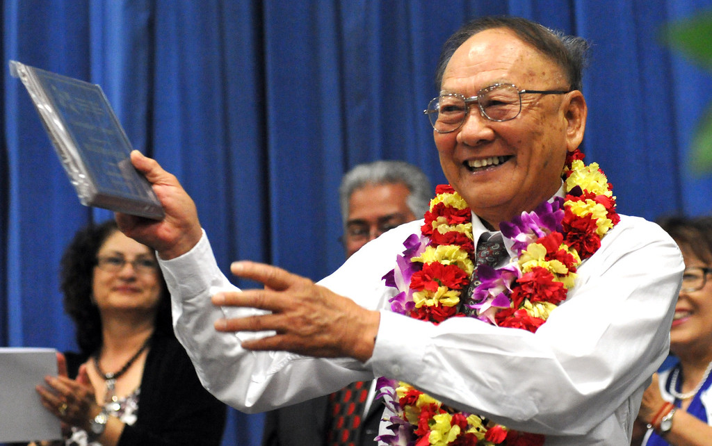 . Billy Lee, 81, receives a Special GED and Counselor\'s Awards during the Rowland Adult and Community Education Graduation Ceremony at Rowland High School in Rowland Heights on Tuesday June 4, 2013. The 18 graduates and one special recipient received their honors in front of their families in the Gym. (SGVN/Staff Photo by Keith Durflinger)