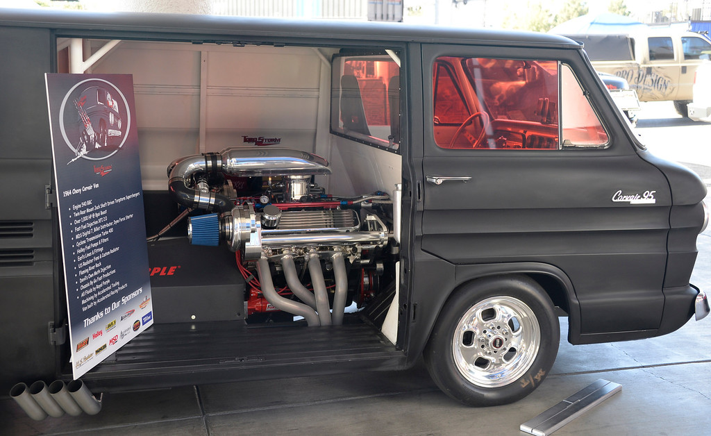 . Nov 5,2013 Las Vegas NV. USA. A 1964 Chevy Corvair Van with a 540 BBC engine on display  during the first day of the 2013 SEMA auto show.