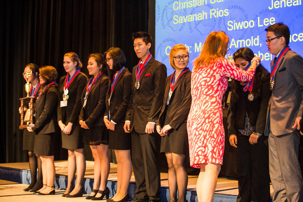 . Members of the 2nd Place team of the 35th annual California Academic Decathlon from Granada Hills Charter High School receiving their awards, at the 35th annual California Academic Decathlon in Sacramento, California, U.S., on Sunday, March 23 2014. Ken James/LA Daily News