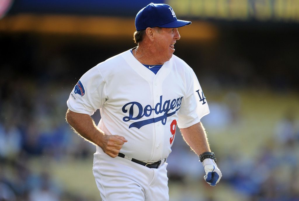 . Former Los Angeles Dodgers Mickey Hatcher during the Old-Timers game prior to a baseball game between the Atlanta Braves and the Los Angeles Dodgers on Saturday, June 8, 2013 in Los Angeles.   (Keith Birmingham/Pasadena Star-News)