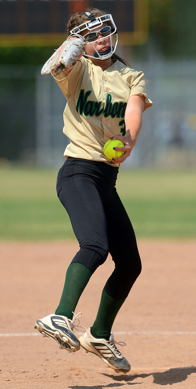 . Narbonne\'s Kaitlin Buff delivers a pitch against Kennedy during the CIF City Section Div. I softball semifinal in Granada Hills, Ca May 21, 2013.(Andy Holzman/Staff Photographer)