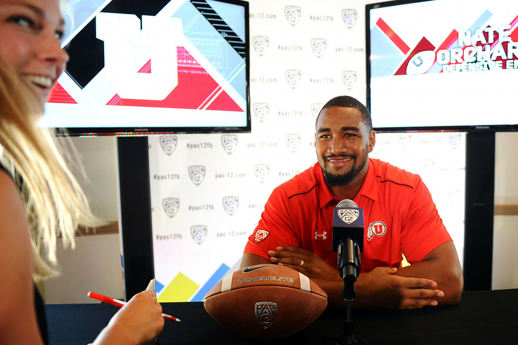 . Utah\'s Nate Orchard fields questions during PAC-12 Football Media Day at the Paramount Theater in Los Angeles, Ca July 23, 2014.(Andy Holzman/Los Angeles Daily News)