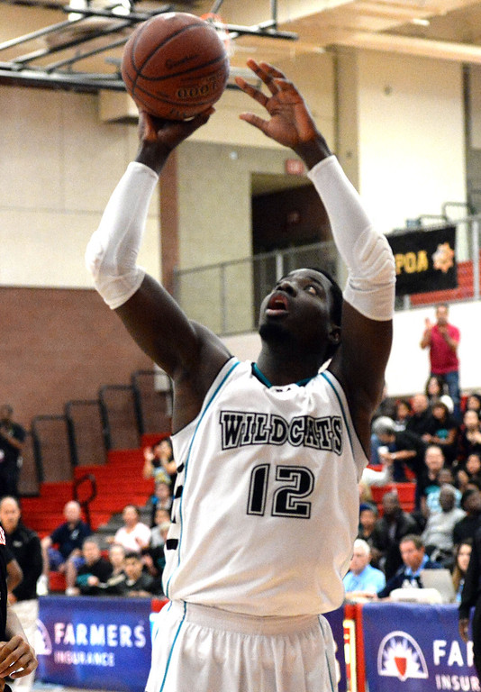 . Renaissance Academy \'s Steve Herve shoots against View Park in the first half of a CIF Southern California Regional Division basketball game at Colony High School in Ontario, Calif., on Saturday, March 22, 2014.  (Keith Birmingham Pasadena Star-News)
