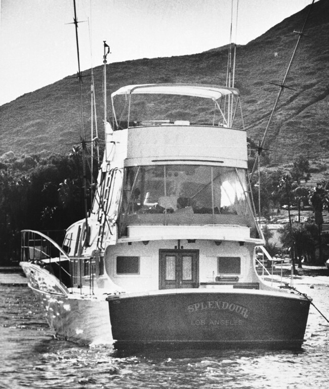". FILE - The 55-foot yacht ""Splendour,\"" belonging to actor Robert Wagner and his wife, actress Natalie Wood, sits in the waters off Catalina Island in Santa Catalina, Calif., near the site where Harbor Patrol personnel and lifeguards discovered the body of Wood, an apparent drowning victim, Nov. 29, 1981. Los Angeles sheriff\'s homicide detectives are taking another look at Wood\'s 1981 drowning death based on new information, officials announced Thursday, Nov. 17, 2011. (AP Photo/Harrington, File)"