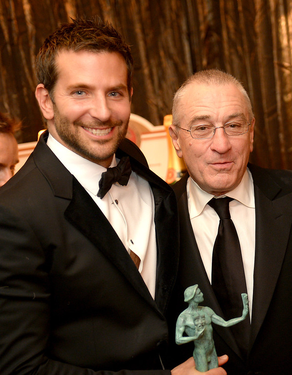. Bradley Cooper and Robert De Niro backstage at the 20th Annual Screen Actors Guild Awards  at the Shrine Auditorium in Los Angeles, California on Saturday January 18, 2014 (Photo by Michael Owen Baker / Los Angeles Daily News)