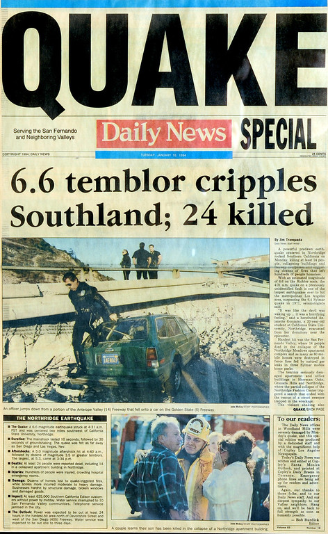""". Page one of the Los Angeles Daily News on January 18, 1994.  The Northridge quake hit at 4:31 the morning of Jan. 17, 1994, a powerful jolt that flattened buildings, destroyed homes, damaged freeways, ignited fires and disrupted water and power.  The 6.7-magnitude Northridge Earthquake also killed nearly three dozen people, injured 8,700 more, caused some $20 billion in damage and shattered the nerves of millions of Southern California residents.  \""""It was like the devil was waking up ... it was a horrifying feeling,\"""" said one of the quake victims quoted in a Daily News story on Jan. 18.  In the bottom photograph, the caption should read that a LAPD Chaplain tells a couple that their mother has died."""
