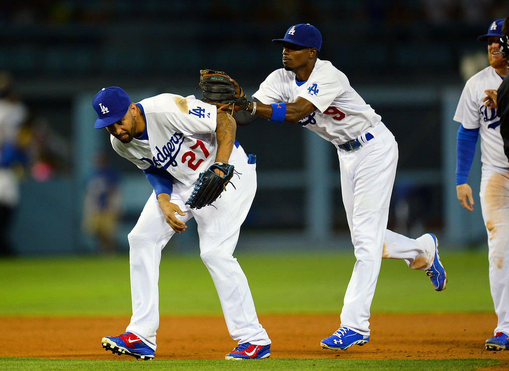 . Dodgers Matt Kemp and Dee Gordon after beating the Mets 6-2. (Photo by Michael Owen Baker/Los Angeles Daily News)