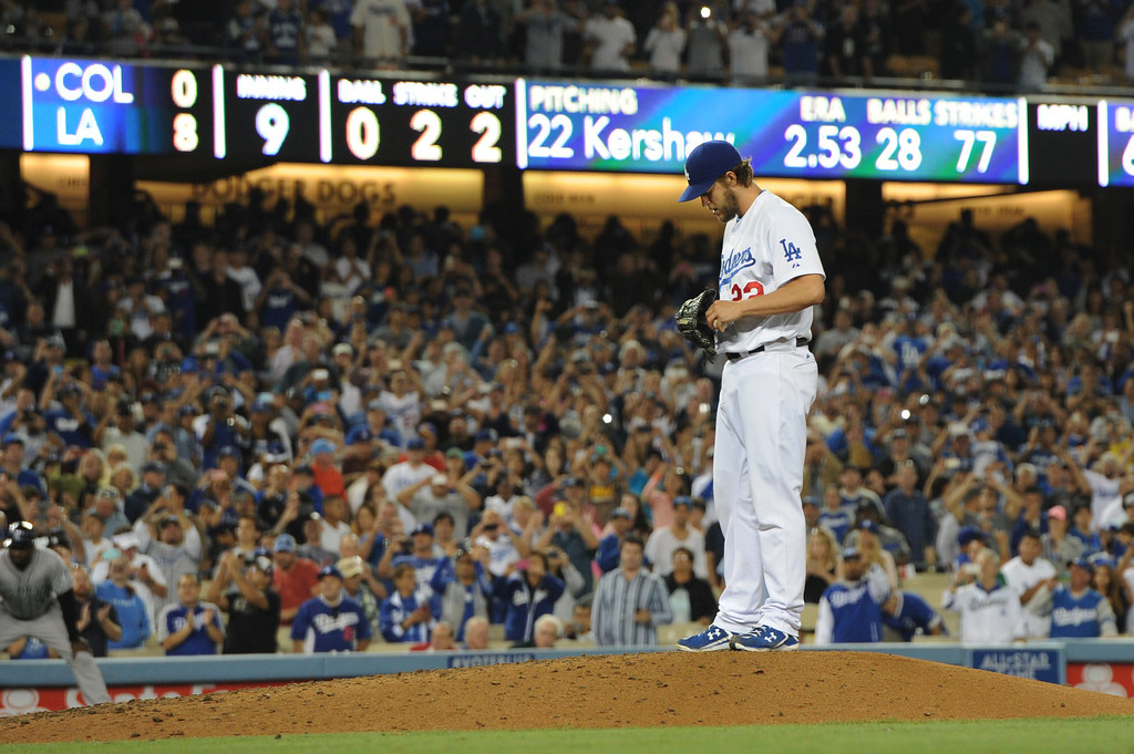 . Clayton Kershaw pauses on the mound before throwing his final pitch in a no hitter. The Dodgers defeated the Colorado Rockies 8-0 at Dodger Stadium in Los Angeles, CA. 6/18/2014(Photo by John McCoy Daily News)