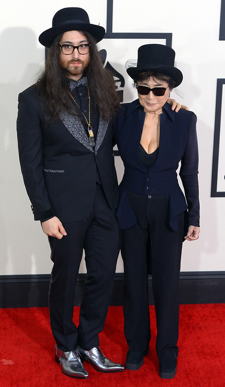 . Sean Lennon and Yoko Ono arrive at the 56th Annual GRAMMY Awards at Staples Center in Los Angeles, California on Sunday January 26, 2014 (Photo by David Crane / Los Angeles Daily News)
