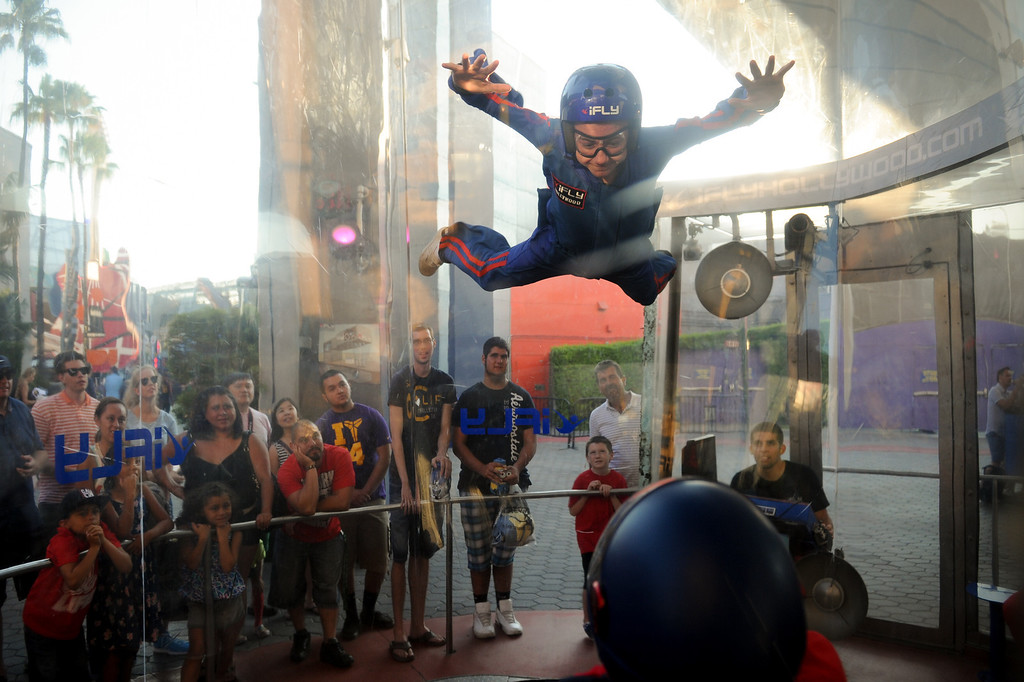 . Ryan Brown, 15, of Simi Valley, gets elevated at the iFly Indoor Skydiving at Universal CityWalk. Friday, July 6, 2013. (Michael Owen Baker/L.A. Daily News)