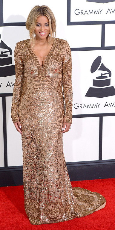. Ciara arrives at the 56th Annual GRAMMY Awards at Staples Center in Los Angeles, California on Sunday January 26, 2014 (Photo by David Crane / Los Angeles Daily News)