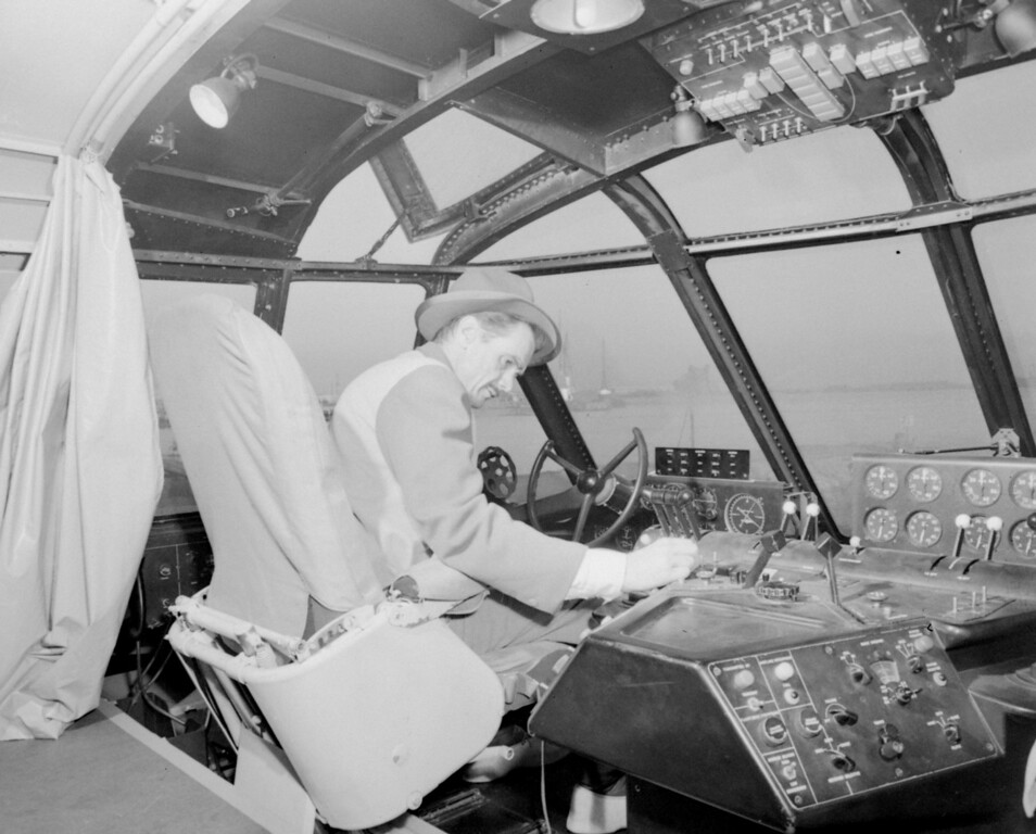 . Howard Hughes sits at the controls of his giant wooden flying boat dubbed the Spruce Goose as he checked the aircraft prior to the first and only flight of the 25 million dollar plane, November 2, 1947, off Long Beach, California. (AP Photo/stf)