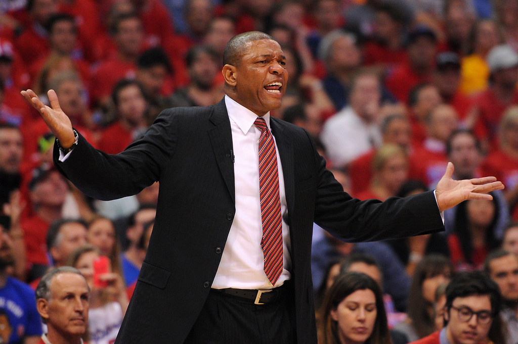. Clippers\' coach Doc Rivers argues for a foul against the Warriors\' in game seven of the Western Conference playoffs, Saturday, May 3, 2014, at Staples Center. (Photo by Michael Owen Baker/L.A. Daily News)