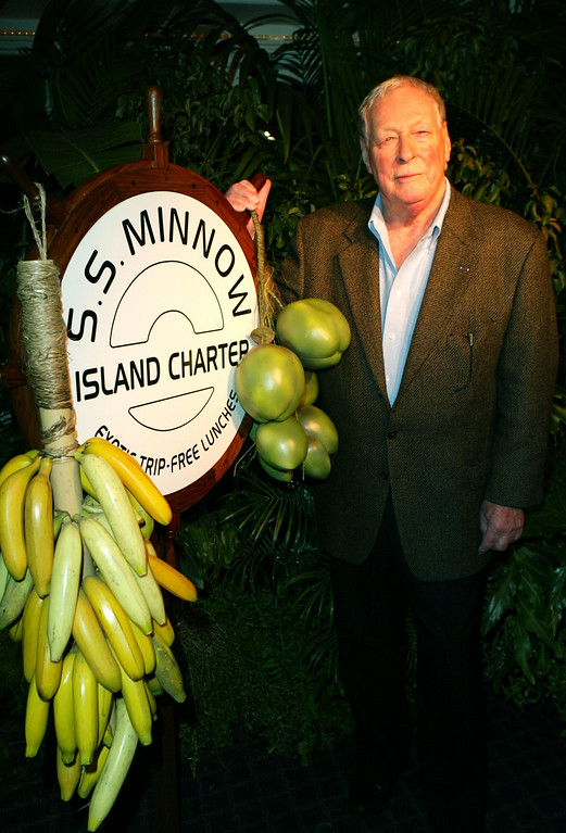 """. Actor Russell Johnson poses during the \""""Gilligan\'s Island: The Complete First Season\"""" DVD launch party on February 3, 2004 in Marina Del Rey, California. Russell died on January 16, 2014. He was 89.   http://bit.ly/VNKtp1  (Photo by Frazer Harrison/Getty Images)."""